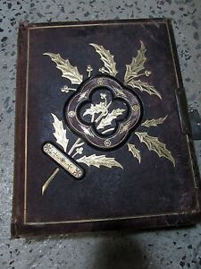 Antique Victorian Embossed Tooled Leather Gold Photo Album Photograph Gold Gilt