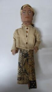 Vintage Wooden Asian Doll Figurine Hand Carved Painted Clothes Java Burma