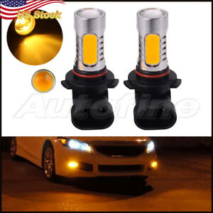 Yellow Amber 9005 Hb3 Cob 7 5w Led Bulbs For Car Daytime Runing Light Pair