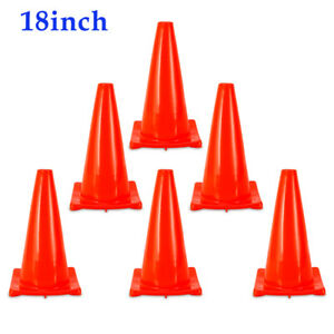 6pcs 18 Inch Traffic Cones Parking Emergency Safety Cones Fluorescent Wide Body