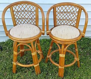 2 Vtg Mid Cent Hollywod Regency Bamboo Rattan Bentwood Swivel Counter Bar Stools