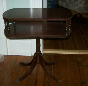 Vintage Brandt Solid Mahogany Fold Out Table Brass Claw Feet