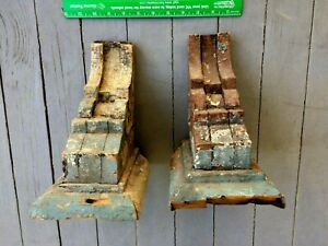 18th 19th C Pair Wood Corbels Charleston Sc Remnants Of Charleston Blue Paint