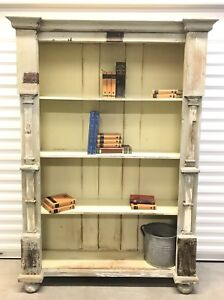 Antique European Rustic Painted Reclaimed Pine Wood Book Shelf Bookcase