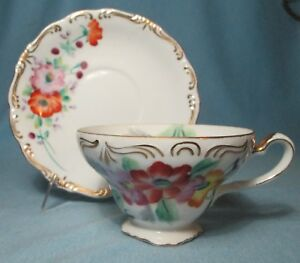 Hand Painted Tea Cup Saucer Vintage Trimont China Occupied Japan
