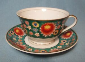 Hand Painted Tea Cup Saucer Vintage Trimont China Made In Occupied Japan