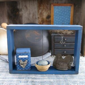 Antique Wood And Wire Garden Sieve Shelf Cupboard Blue Paint Free Shipping