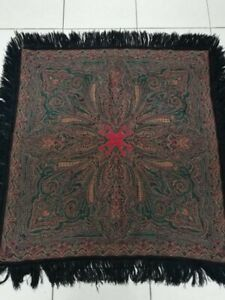 Antique French Paisley Kashmir Square Piano Shawl Wool Size 33 X31good Condition