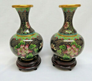 Pair Chinese Cloisonne Vases W Stands Included