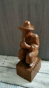 Vintage Hand Carved Wooden Figure Crouching Man Weaing Hat With Pipe