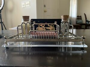 Vintage Lucite Metal Office Desk Organizer