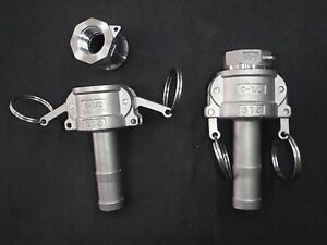 Stainless Steel Cam Lock 1 2 Npt 3 4 Hose Barb Assembly Clay050