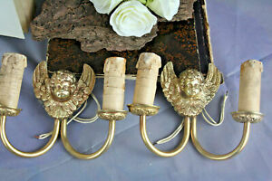 Pair French Brass Bronze Wall Sconces Lamps Lights Angels Putti Cherubs 1930