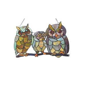 Stained Glass Tiffany Style Window Panel Family Of Owls Last One This Price