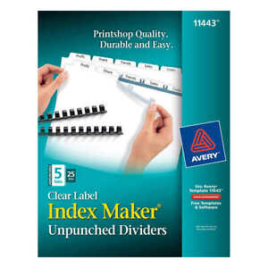 Avery Index Dividers For Laser Clear 5 tab 25 set Ave 11443