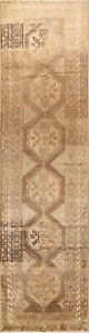 Handmade Old Palace Size Geometric Wool Oriental Runner Rug 4x14 Muted