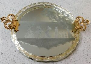 Italian Murano Florentine Gilt Glass Rope Vanity Mirror Etched Romantic Couple