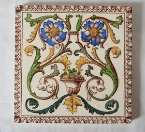 Outstanding Floral Fishes Design Victorian 6 Inch Tile 19th Century