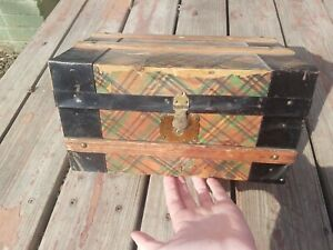Rare Antique Doll Trunk Salesman Sample Wood Chest Victorian Tray Vintage