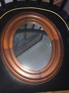 Circa 1850 S Civil War Era Oval Mirror Dovetailed Mahogany Reduced