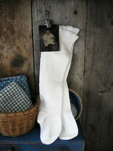 Antique Long Cotton Baby Stockings W 1860s Tin Type Free Shipping