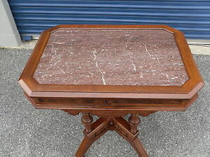 Antique Victorian Walnut Marble Top Table