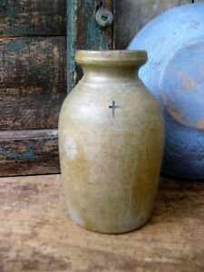 Early Antique Stoneware Canning Crock With Painted Cross Free Shipping