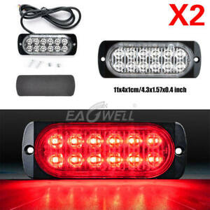 2pcs Red 12 Led 12v 24v 36w Car Suv Truck Strobe Light Flashing Bar Lamp Us