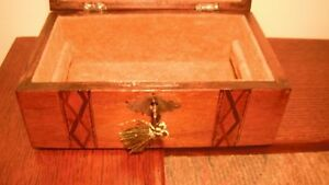 Victorian Walnut Jewelry Box With Key Fantastic Interior