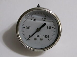 New Hydraulic Liquid Filled Pressure Gauge 0 1000 Psi 1 4 Npt Cbm 2 5 Face
