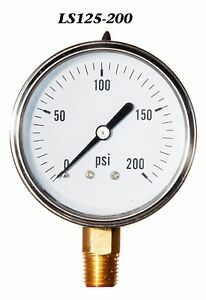 New Hydraulic Liquid Filled Pressure Gauge 0 200 Psi 2 5 Face 1 4 Lm