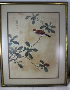One Original Chinese Watercolor On Silk Bird Leaf Painting Signed Framed