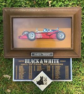 Vintage BLACK & WHITE Whiskey Indy 500 Race Car Winners 3D Car Sign Man Cave