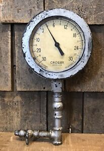 Vintage Test Gage Steam Engine Pressure Gauge Crosby Boston Usa Steampunk