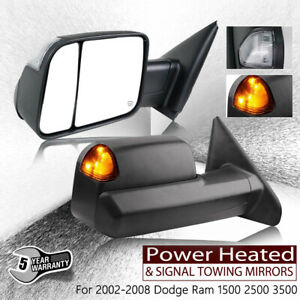 For 02 08 Dodge Ram 1500 Power Heated With Signal 2009 Style 2p Tow Mirrors