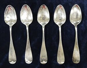 Early Dunlap Baker Pure Coin Silver Set Of 5 Tea Spoons