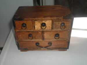 Antique Spice Box Cabinet Wooden Jewelry Trinket Chest 6 Drawers Apothecary