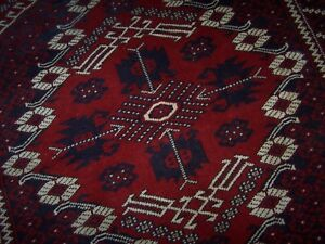 Persian Tribal Knotted Wool Bergama Kiz Wedding Rug Fringe Red Navy Ivory