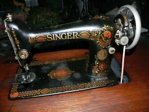 Vintage Antique Singer Treadle Sewing Machine Head Much Gold Leaf 66 1922