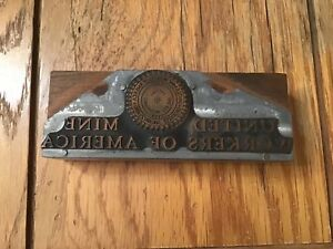 Antique vintage Printers Block united Mine Workers Of America