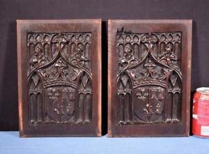 Pair Of French Antique Gothic Revival Panels In Walnut Wood Salvage