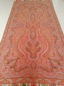 Antique French Paisley Kashmir Design Shawl Woolen Size 124 By62 Good Condition