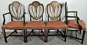 Set Of 8 Baker Furniture Mahogany Inlaid Marquetry Hepplewhite Dining Chairs