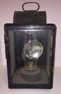 Huge Antique Early American Tole Tin Oil Lantern Lamp Barn Street