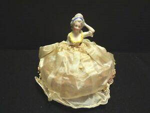 Antique Vintage Porcelain Half Doll Germany Lady Pincushion Orig Silk Dress Htf