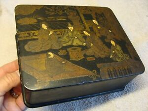 Antique Black Japanese Makie Lacquer Wood Decoration Inlaid Detailed Artwork Old