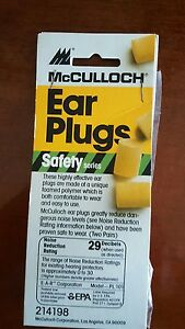 Mcculloch Ear Plugs Safety Series 214198 2 Pair Per Package 40 Packages