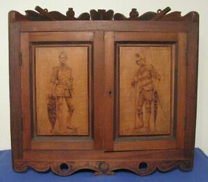 Antique Wooden Hanging Corner Cabinet W K Nig Arthur Eduard Etched Door Panels
