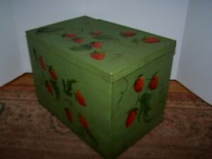 Old Painted Green With Strawberries Tole Tin Metal Storage Box Hinged Lid
