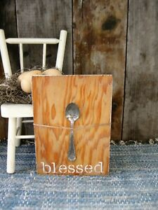 Antique Child S Wood Bread Board White Milk Paint W Old Tin Spoon Free Shipping